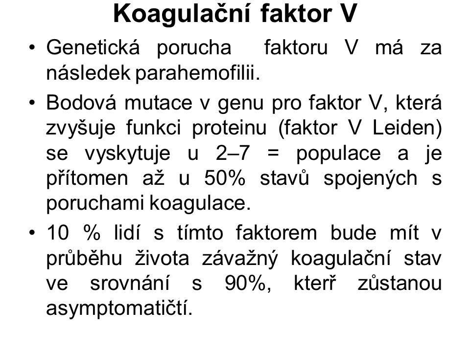 Koagulační faktor V Genetická porucha faktoru V má za následek parahemofilii. Bodová mutace v genu pro faktor V, která zvyšuje funkci proteinu (faktor