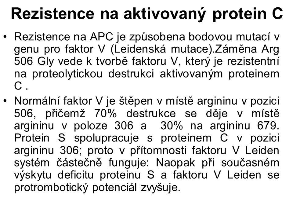 Rezistence na aktivovaný protein C Rezistence na APC je způsobena bodovou mutací v genu pro faktor V (Leidenská mutace).Záměna Arg 506 Gly vede k tvorbě faktoru V, který je rezistentní na proteolytickou destrukci aktivovaným proteinem C.