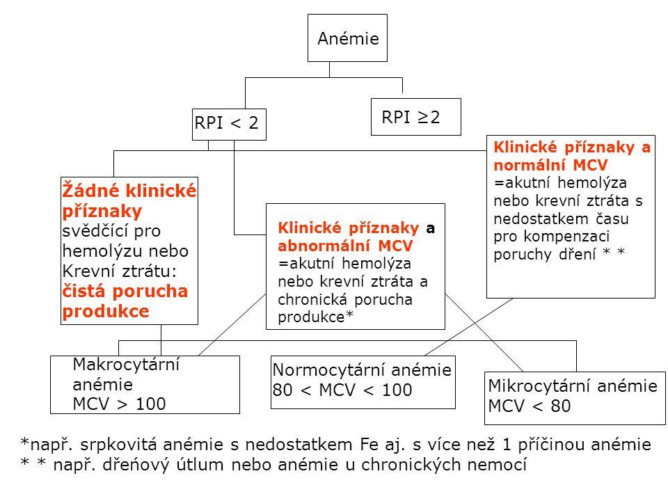 Anémie RPI < 2 RPI ≥2 Žádné klinické příznaky svědčící pro hemolýzu nebo Krevní ztrátu: čistá porucha produkce Klinické příznaky a normální MCV =akutní hemolýza nebo krevní ztráta s nedostatkem času pro kompenzaci poruchy dření * * Klinické příznaky a abnormální MCV =akutní hemolýza nebo krevní ztráta a chronická porucha produkce* Makrocytární anémie MCV > 100 Normocytární anémie 80 < MCV < 100 Mikrocytární anémie MCV < 80 *např.