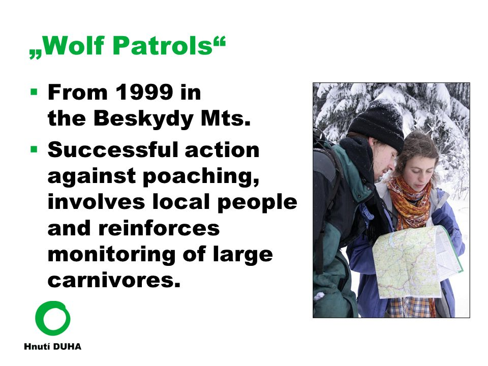 """Wolf Patrols""  From 1999 in the Beskydy Mts.  Successful action against poaching, involves local people and reinforces monitoring of large carnivor"