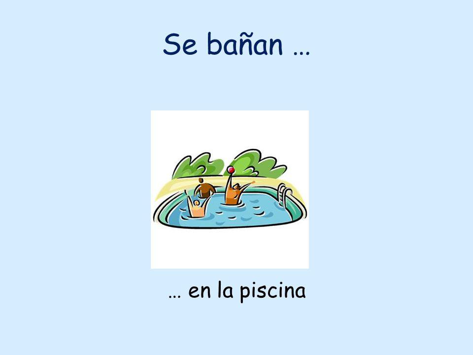 Se bañan … … en la piscina