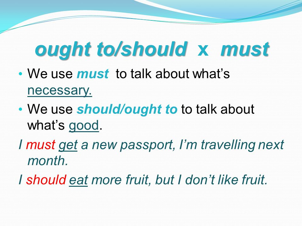 ought to/should must ought to/should x must We use must to talk about what's necessary.