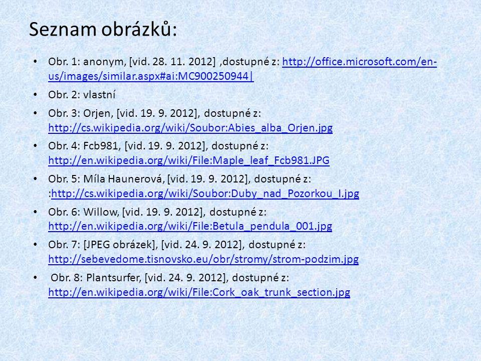 Seznam obrázků: Obr. 1: anonym, [vid. 28. 11. 2012],dostupné z: http://office.microsoft.com/en- us/images/similar.aspx#ai:MC900250944|http://office.mi