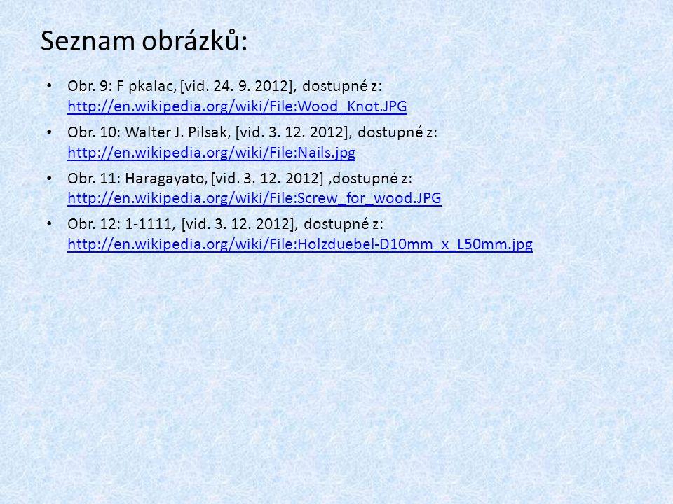 Seznam obrázků: Obr. 9: F pkalac, [vid. 24. 9. 2012], dostupné z: http://en.wikipedia.org/wiki/File:Wood_Knot.JPG http://en.wikipedia.org/wiki/File:Wo