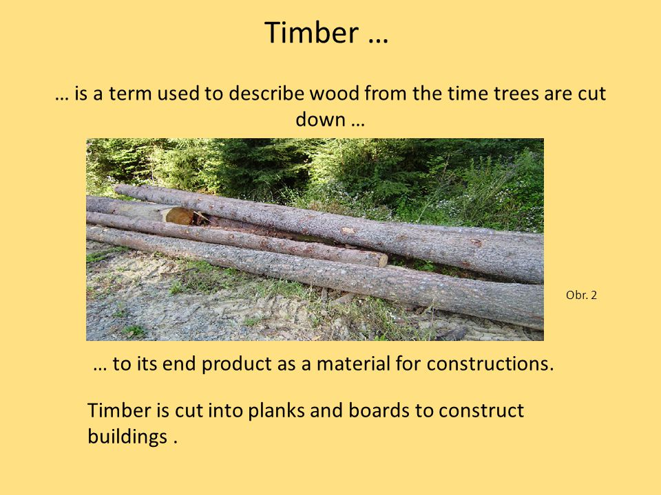 Timber … … to its end product as a material for constructions. … is a term used to describe wood from the time trees are cut down … Obr. 2 Timber is c