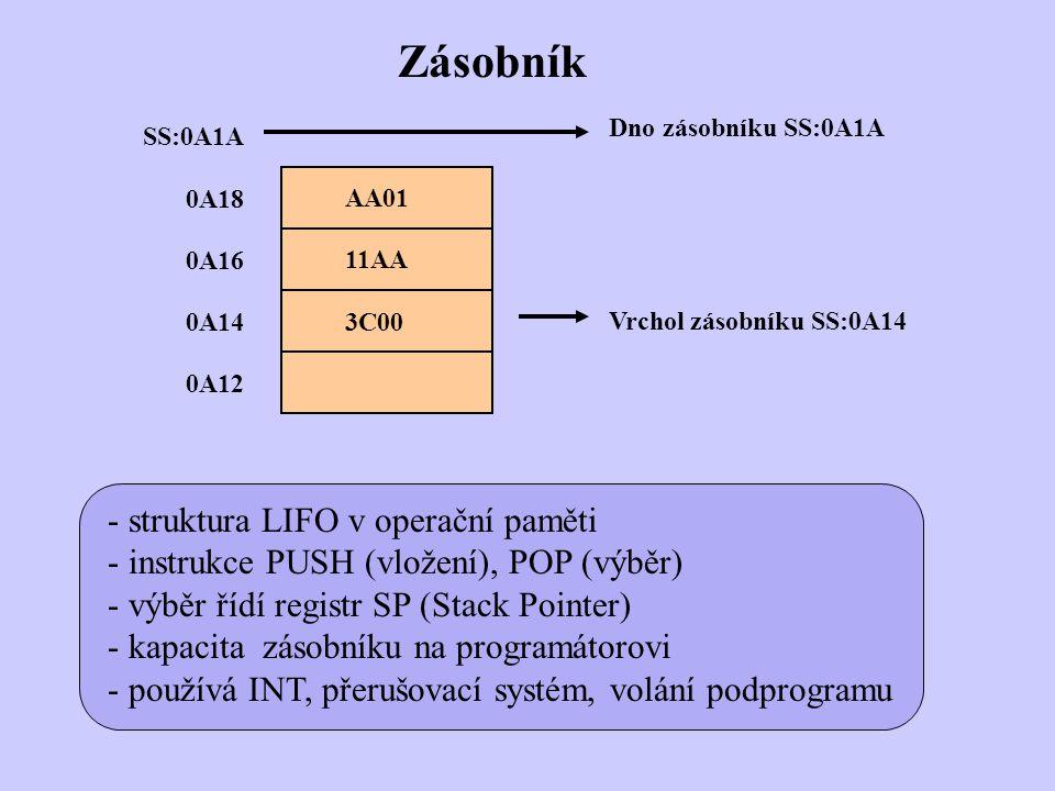 AA01 SS:0A1A 11AA 3C00 0A18 0A16 0A14 0A12 Vrchol zásobníku SS:0A14 Zásobník - struktura LIFO v operační paměti - instrukce PUSH (vložení), POP (výběr