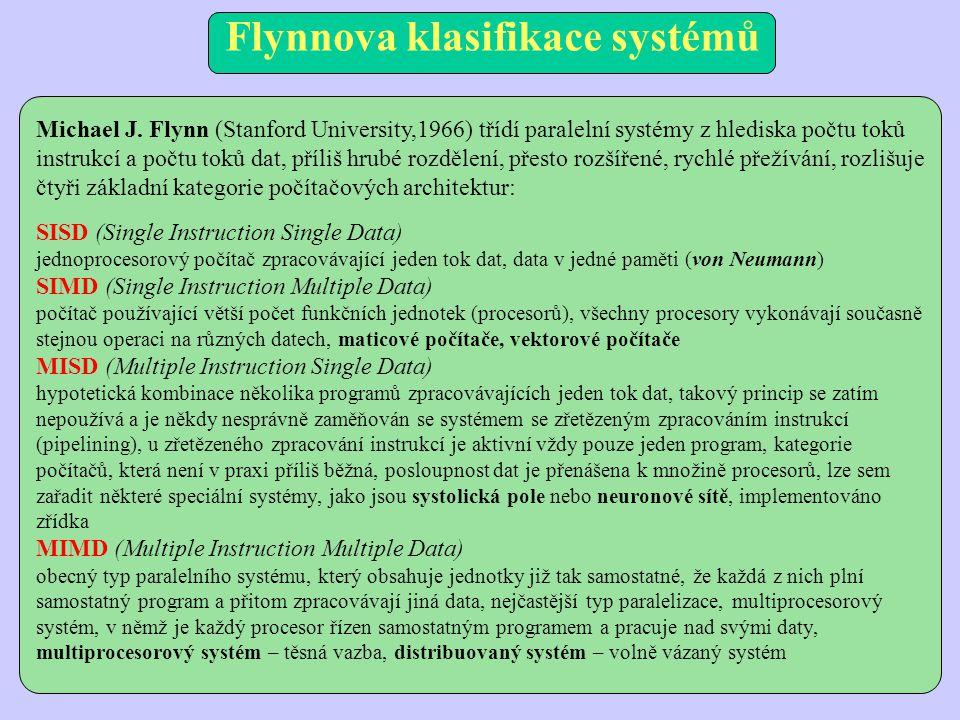 Flynnova klasifikace systémů Michael J. Flynn (Stanford University,1966) třídí paralelní systémy z hlediska počtu toků instrukcí a počtu toků dat, pří