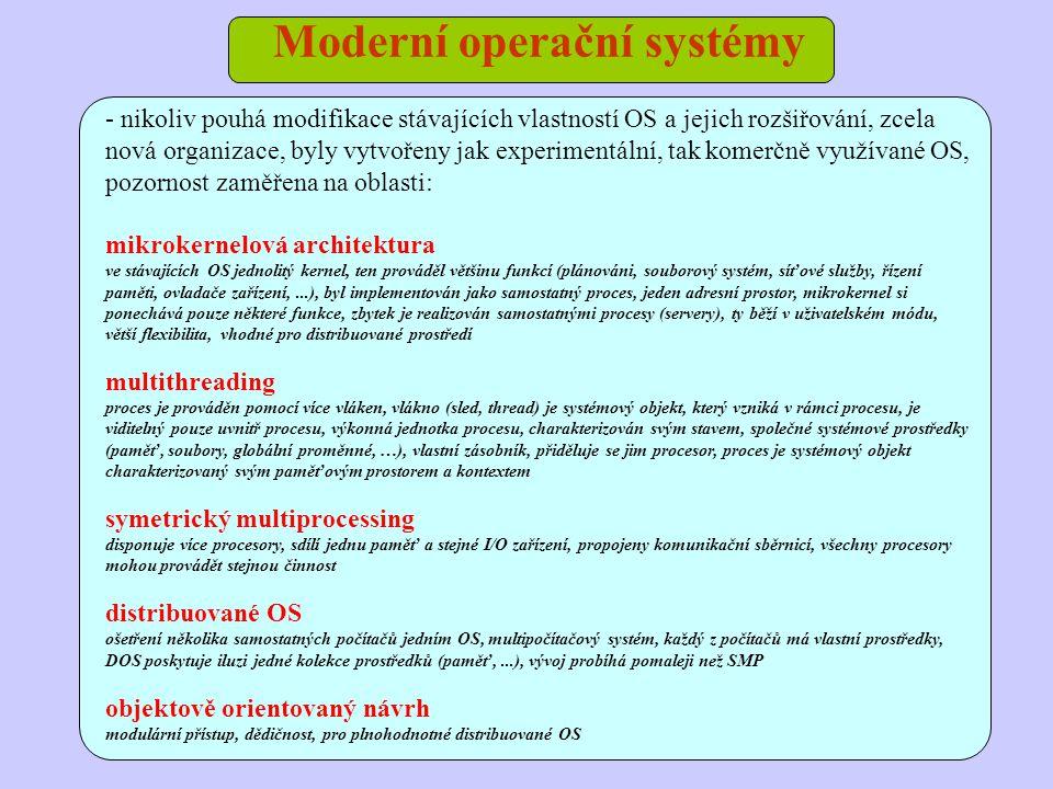 Moderní operační systémy - nikoliv pouhá modifikace stávajících vlastností OS a jejich rozšiřování, zcela nová organizace, byly vytvořeny jak experime