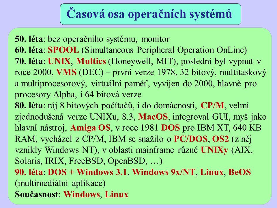 Časová osa operačních systémů 50. léta: bez operačního systému, monitor 60. léta: SPOOL (Simultaneous Peripheral Operation OnLine) 70. léta: UNIX, Mul