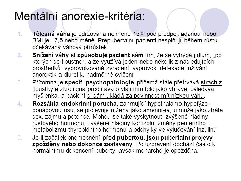 Mentální anorexie-kritéria: 1.Tělesná váha je udržována nejméně 15% pod předpokládanou nebo BMI je 17,5 nebo méně. Prepubertální pacienti nesplňují bě