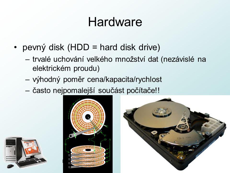 http://pcu3v.fjfi.cvut.cz Hardware pevný disk (HDD = hard disk drive) –trvalé uchování velkého množství dat (nezávislé na elektrickém proudu) –výhodný