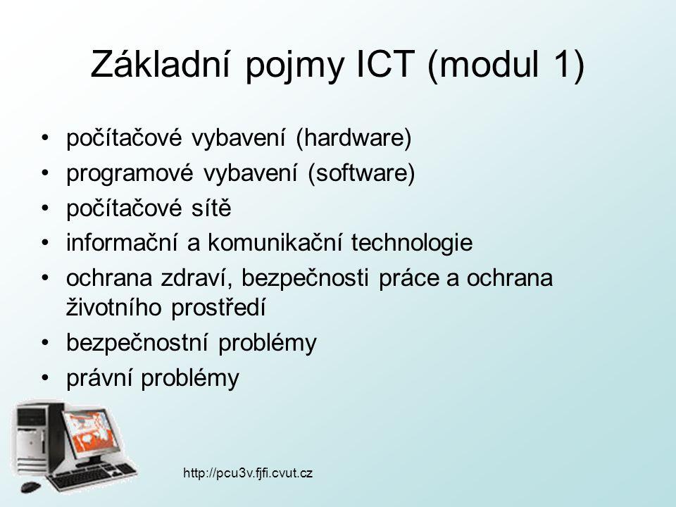 http://pcu3v.fjfi.cvut.cz Základní pojmy ICT (modul 1) počítačové vybavení (hardware) programové vybavení (software) počítačové sítě informační a komu