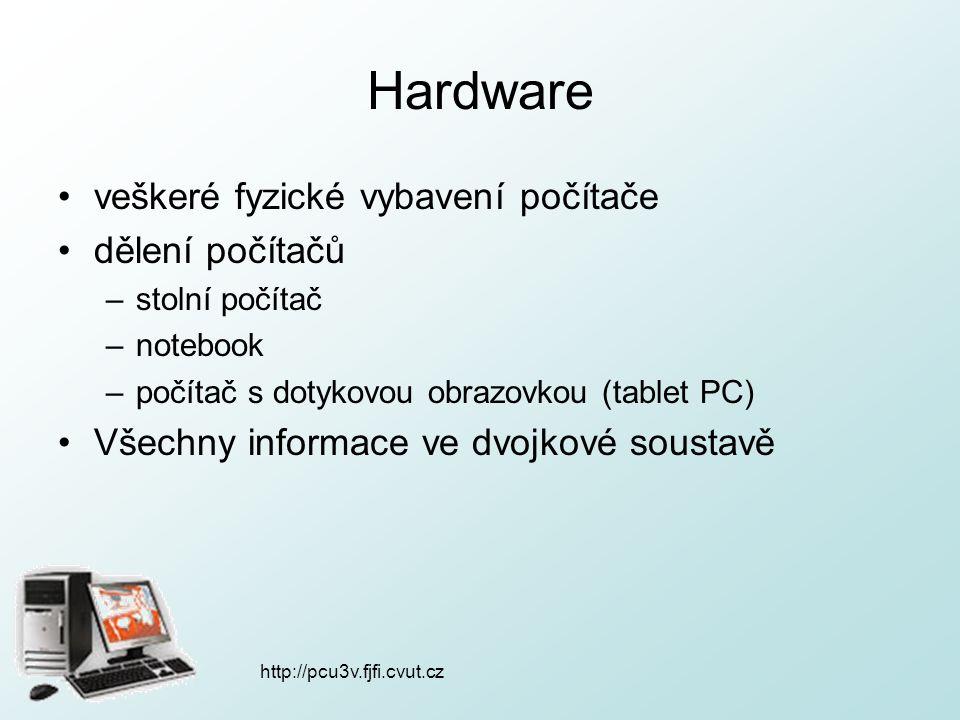 """http://pcu3v.fjfi.cvut.cz Hardware procesor (CPU = central processing unit) –srdce a mozek počítače –čte instrukce a vykonává příkazy –dnes již ne velikost skříně  mikroprocesor –vlastní jazyk = """"strojový kód = instrukce, které umí –parametry: počet jader, rychlost jádra (Hz) 1000Hz = 1kHz, 1000kHz = 1MHz, 1000MHz = 1GHz"""