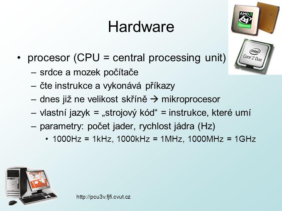 http://pcu3v.fjfi.cvut.cz Hardware procesor (CPU = central processing unit) –srdce a mozek počítače –čte instrukce a vykonává příkazy –dnes již ne vel