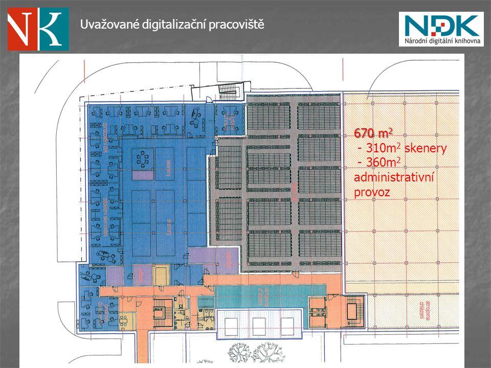 Uvažované digitalizační pracoviště 670 m 2 - 310m 2 skenery - 360m 2 administrativní provoz