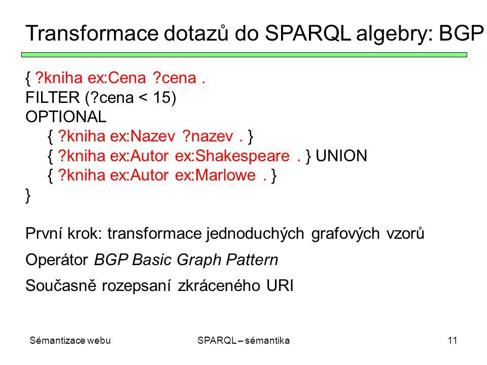 Sémantizace webuSPARQL – sémantika11 Transformace dotazů do SPARQL algebry: BGP { ?kniha ex:Cena ?cena. FILTER (?cena < 15) OPTIONAL { ?kniha ex:Nazev