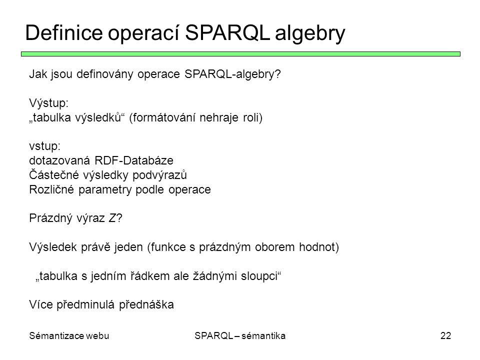 Sémantizace webuSPARQL – sémantika22 Definice operací SPARQL algebry Jak jsou definovány operace SPARQL-algebry.