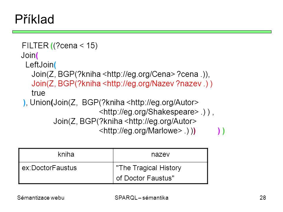 Sémantizace webuSPARQL – sémantika28 Příklad FILTER ((?cena < 15) Join( LeftJoin( Join(Z, BGP(?kniha ?cena.)), Join(Z, BGP(?kniha <http://eg.org/Nazev