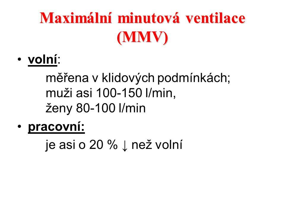 Maximální minutová ventilace (MMV) volní: měřena v klidových podmínkách; muži asi 100-150 l/min, ženy 80-100 l/min pracovní: je asi o 20 % ↓ než volní