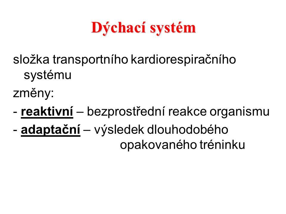 složka transportního kardiorespiračního systému změny: - reaktivní – bezprostřední reakce organismu - adaptační – výsledek dlouhodobého opakovaného tr