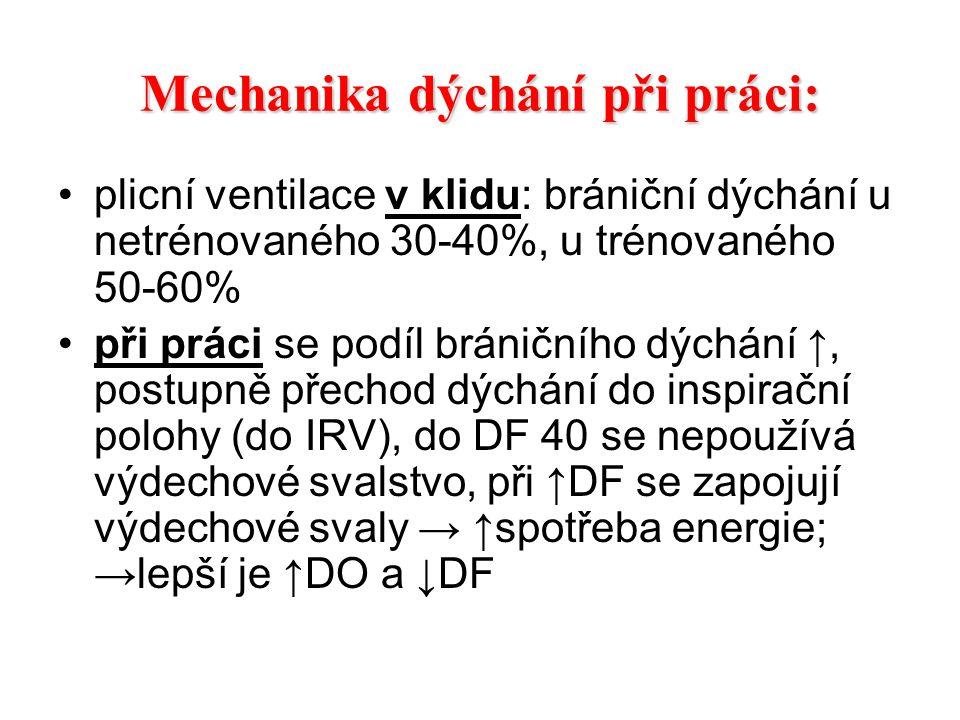 Dechová frekvence (DF) zvyšování v průběhu práce je individuální, u žen bývá vyšší lehká práce 20-30/min, těžká 30-40/min, velmi těžká 40-60/min u zátěže cyklického charakteru může být vázána na pohyb ↑DF může vést ke ↓DO a tím i minutové ventilace → ↓alveolární ventilace → ↑fyziologického (funkčního) prostoru