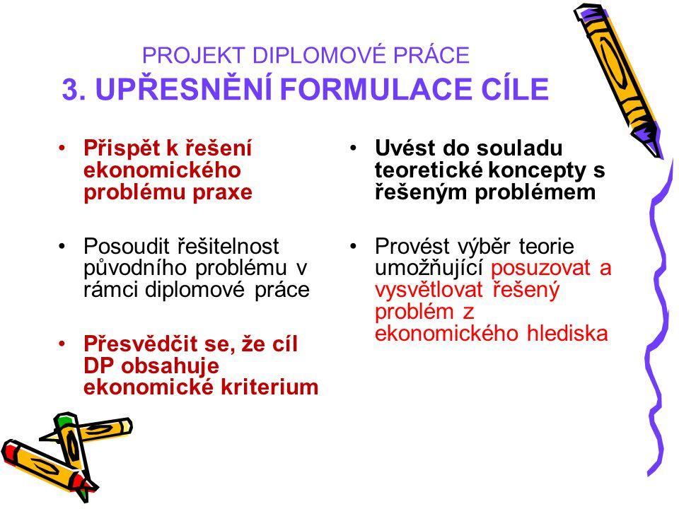 PROJEKT DIPLOMOVÉ PRÁCE 3. UPŘESNĚNÍ FORMULACE CÍLE Přispět k řešení ekonomického problému praxe Posoudit řešitelnost původního problému v rámci diplo