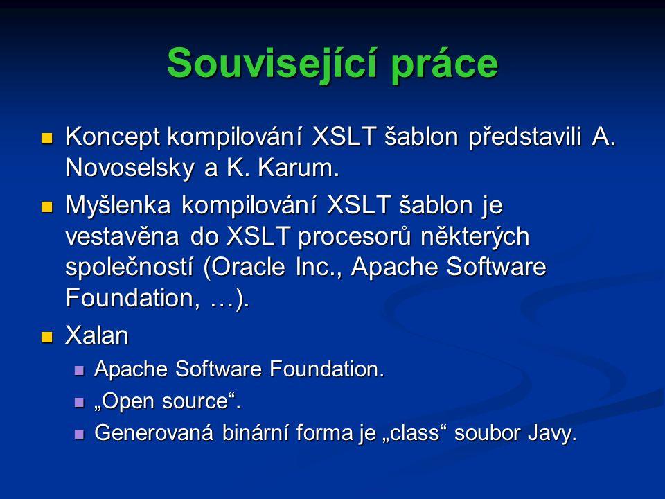 Související práce Koncept kompilování XSLT šablon představili A.