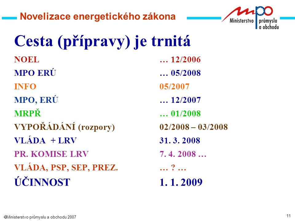 11  Ministerstvo průmyslu a obchodu 2007 Novelizace energetického zákona Cesta (přípravy) je trnitá NOEL … 12/2006 MPO ERÚ… 05/2008 INFO 05/2007 MPO, ERÚ… 12/2007 MRPŘ… 01/2008 VYPOŘÁDÁNÍ (rozpory)02/2008 – 03/2008 VLÁDA + LRV31.