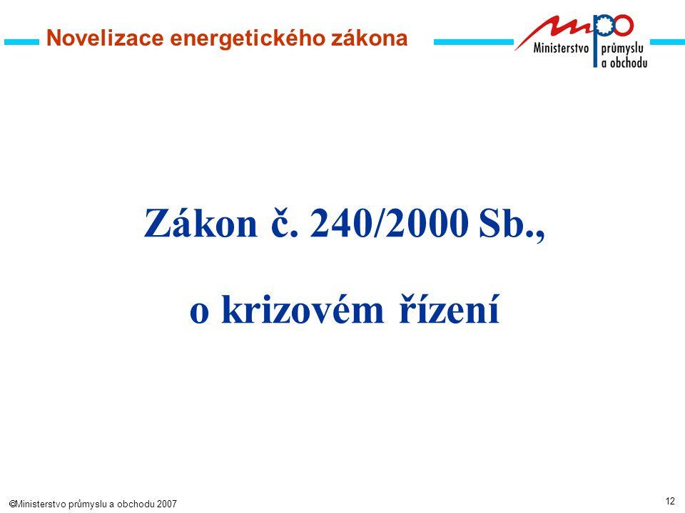 12  Ministerstvo průmyslu a obchodu 2007 Novelizace energetického zákona Zákon č.