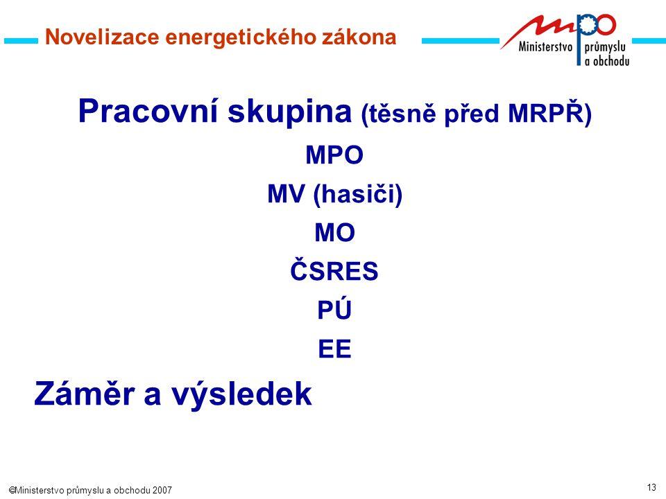 13  Ministerstvo průmyslu a obchodu 2007 Novelizace energetického zákona Pracovní skupina (těsně před MRPŘ) MPO MV (hasiči) MO ČSRES PÚ EE Záměr a výsledek