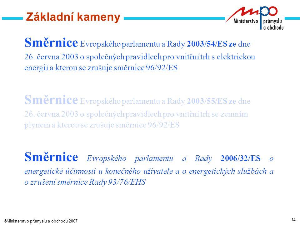 14  Ministerstvo průmyslu a obchodu 2007 Základní kameny Směrnice Evropského parlamentu a Rady 2003/54/ES ze dne 26.