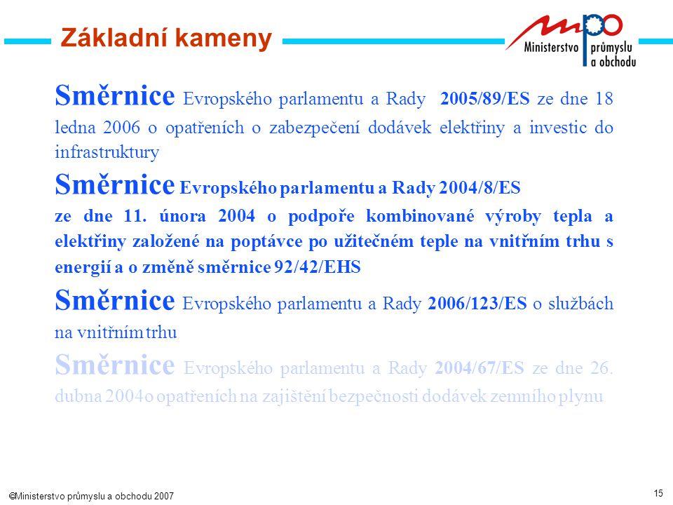 15  Ministerstvo průmyslu a obchodu 2007 Základní kameny Směrnice Evropského parlamentu a Rady 2005/89/ES ze dne 18 ledna 2006 o opatřeních o zabezpečení dodávek elektřiny a investic do infrastruktury Směrnice Evropského parlamentu a Rady 2004/8/ES ze dne 11.