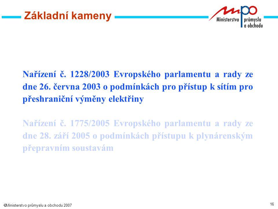 16  Ministerstvo průmyslu a obchodu 2007 Základní kameny Nařízení č.