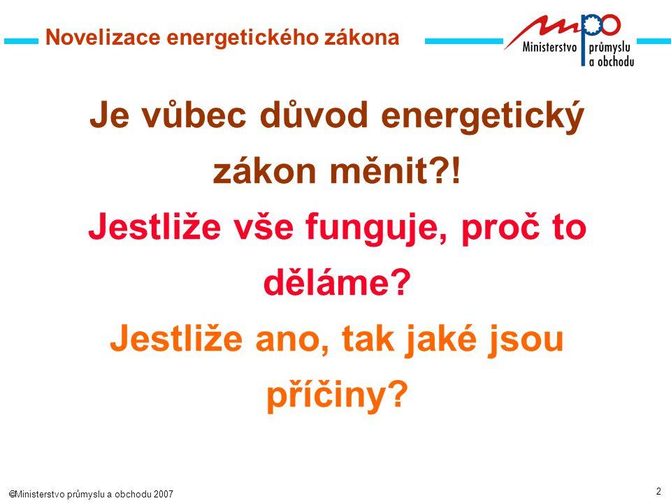 2  Ministerstvo průmyslu a obchodu 2007 Novelizace energetického zákona Je vůbec důvod energetický zákon měnit?.
