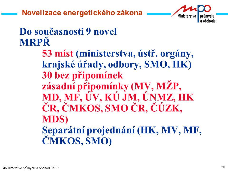 20  Ministerstvo průmyslu a obchodu 2007 Novelizace energetického zákona Do současnosti 9 novel MRPŘ 53 míst (ministerstva, ústř.