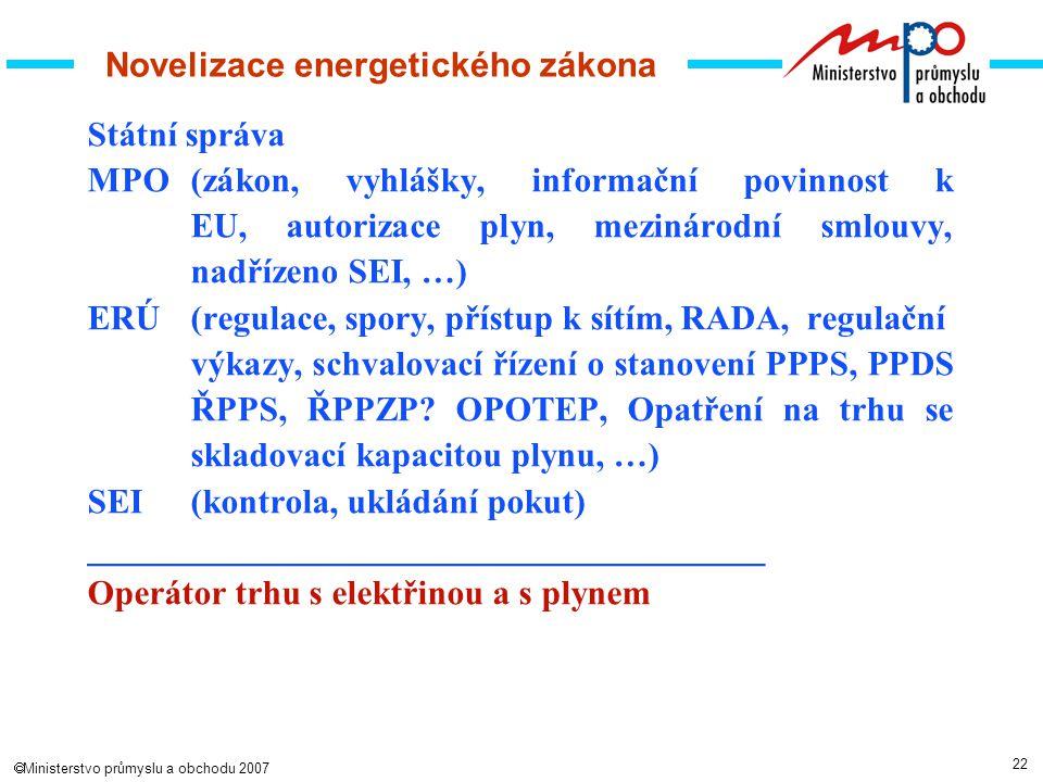 22  Ministerstvo průmyslu a obchodu 2007 Novelizace energetického zákona Státní správa MPO(zákon, vyhlášky, informační povinnost k EU, autorizace plyn, mezinárodní smlouvy, nadřízeno SEI, …) ERÚ(regulace, spory, přístup k sítím, RADA, regulační výkazy, schvalovací řízení o stanovení PPPS, PPDS ŘPPS, ŘPPZP.