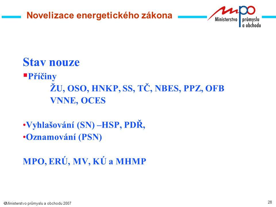 28  Ministerstvo průmyslu a obchodu 2007 Novelizace energetického zákona Stav nouze  Příčiny ŽU, OSO, HNKP, SS, TČ, NBES, PPZ, OFB VNNE, OCES Vyhlašování (SN) –HSP, PDŘ, Oznamování (PSN) MPO, ERÚ, MV, KÚ a MHMP