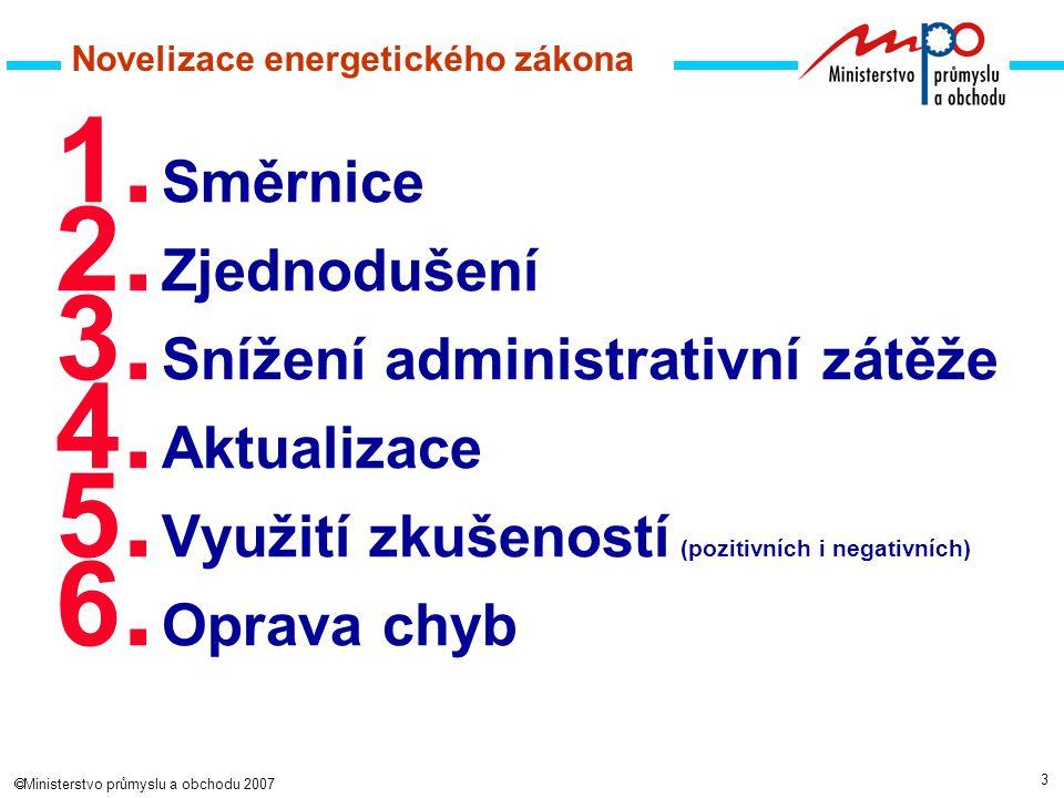 4  Ministerstvo průmyslu a obchodu 2007 Novelizace energetického zákona Předkladatel:Ministerstvo průmyslu a obchodu Spolupředkladatel:Energetický regulační úřad Spolupráce:pracovní skupiny - projekt NOvá Energetická Legislativa (NOEL) *2005+2006