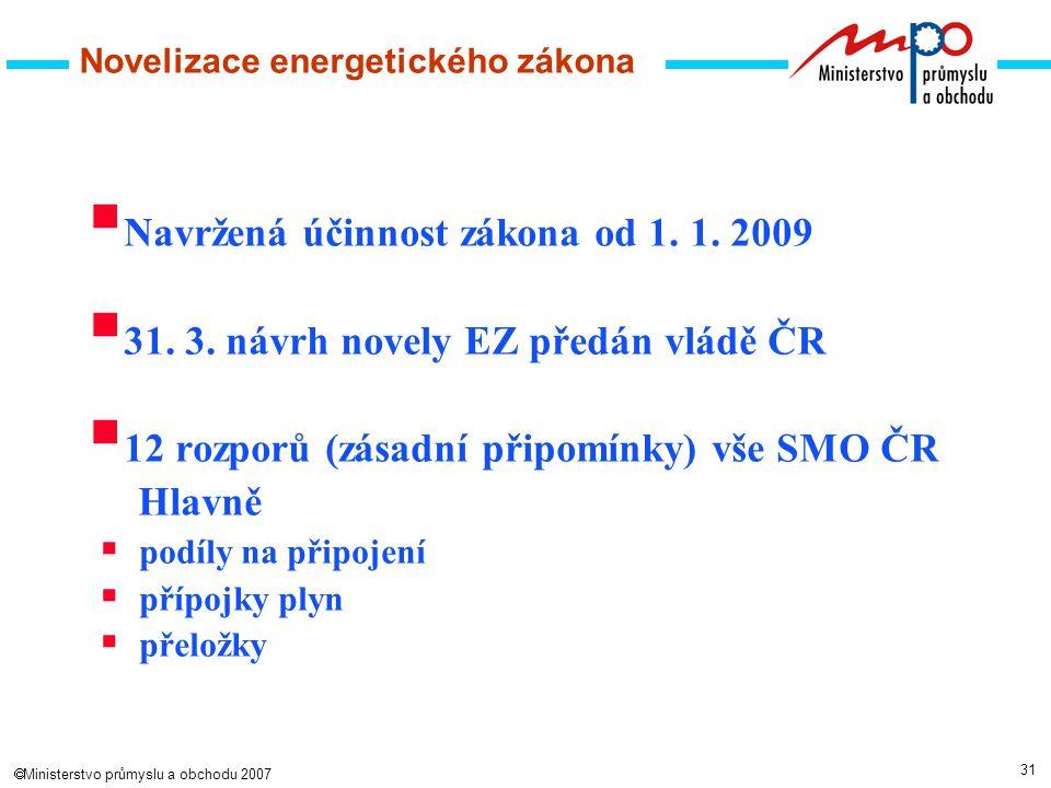 31  Ministerstvo průmyslu a obchodu 2007 Novelizace energetického zákona  Navržená účinnost zákona od 1.