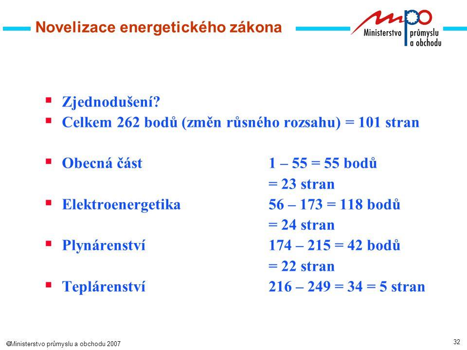 32  Ministerstvo průmyslu a obchodu 2007 Novelizace energetického zákona  Zjednodušení.