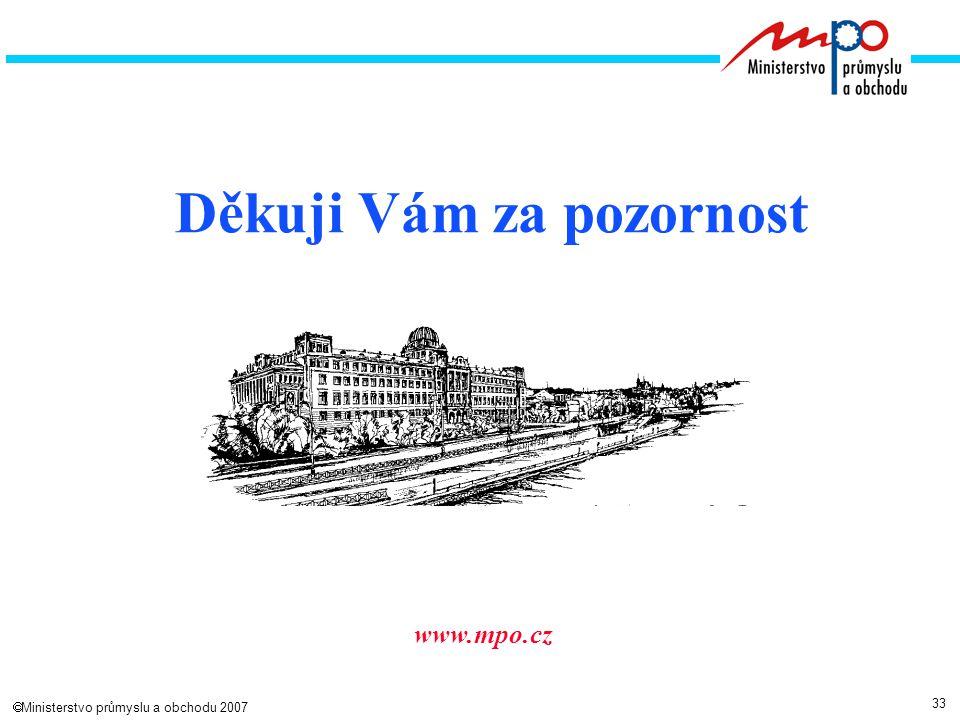 33  Ministerstvo průmyslu a obchodu 2007 www.mpo.cz Děkuji Vám za pozornost