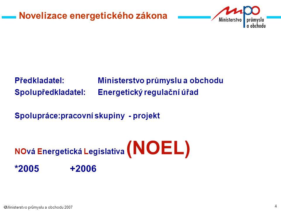 5  Ministerstvo průmyslu a obchodu 2007 Pracovní skupiny 1.skupina: EZ - společná část 2.skupina: EZ - elektroenergetika 3.skupina: EZ - plynárenství 4.skupina: EZ - teplárenství 5.skupina: Zákon o hospodaření s energií 6.skupina: Obnovitelné zdroje energie NOEL