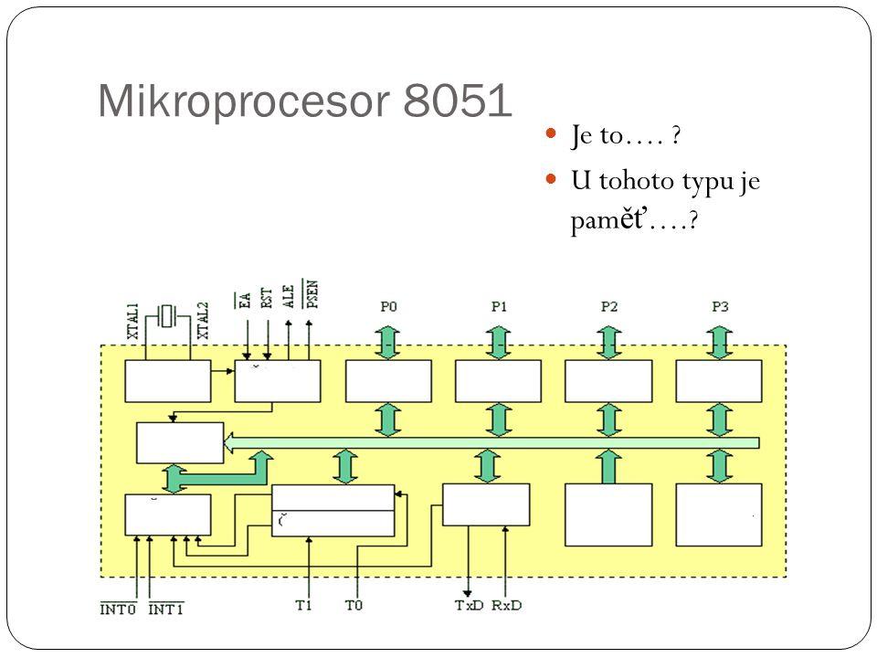 Mikroprocesor 8051 Je to…. ? U tohoto typu je pam ěť ….?