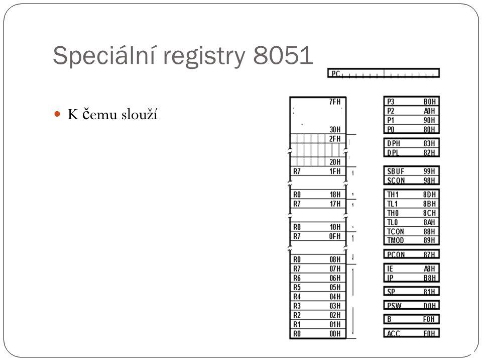 PSW registr 8051 Vysv ě tlit: C(carry) – AC( Auxiliary carry) – F0 – RS1 – RS0 -