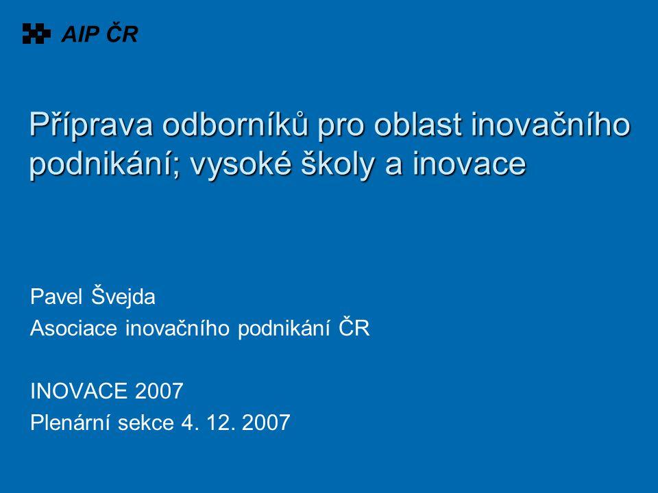 Příprava odborníků pro oblast inovačního podnikání; vysoké školy a inovace Pavel Švejda Asociace inovačního podnikání ČR INOVACE 2007 Plenární sekce 4.