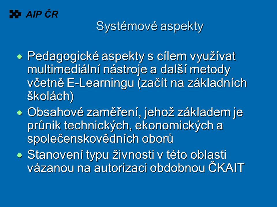 Systémové aspekty  Pedagogické aspekty s cílem využívat multimediální nástroje a další metody včetně E-Learningu (začít na základních školách)  Obsa