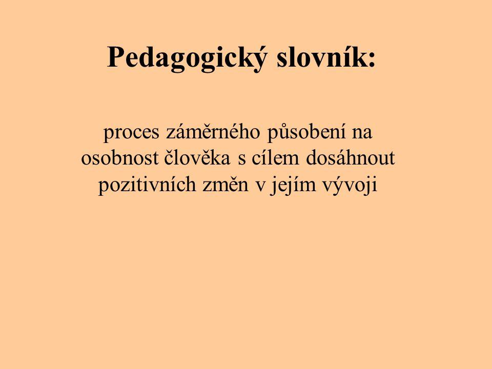 Pedagogický slovník: proces záměrného působení na osobnost člověka s cílem dosáhnout pozitivních změn v jejím vývoji