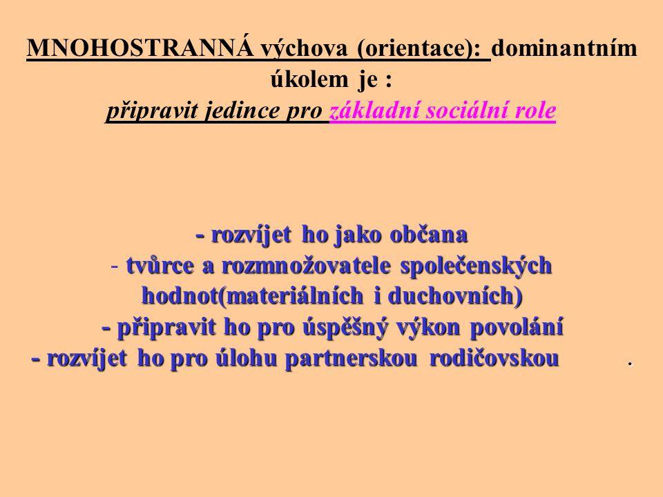 MNOHOSTRANNÁ výchova (orientace): dominantním úkolem je : připravit jedince pro základní sociální role - rozvíjet ho jako občana tvůrce a rozmnožovate
