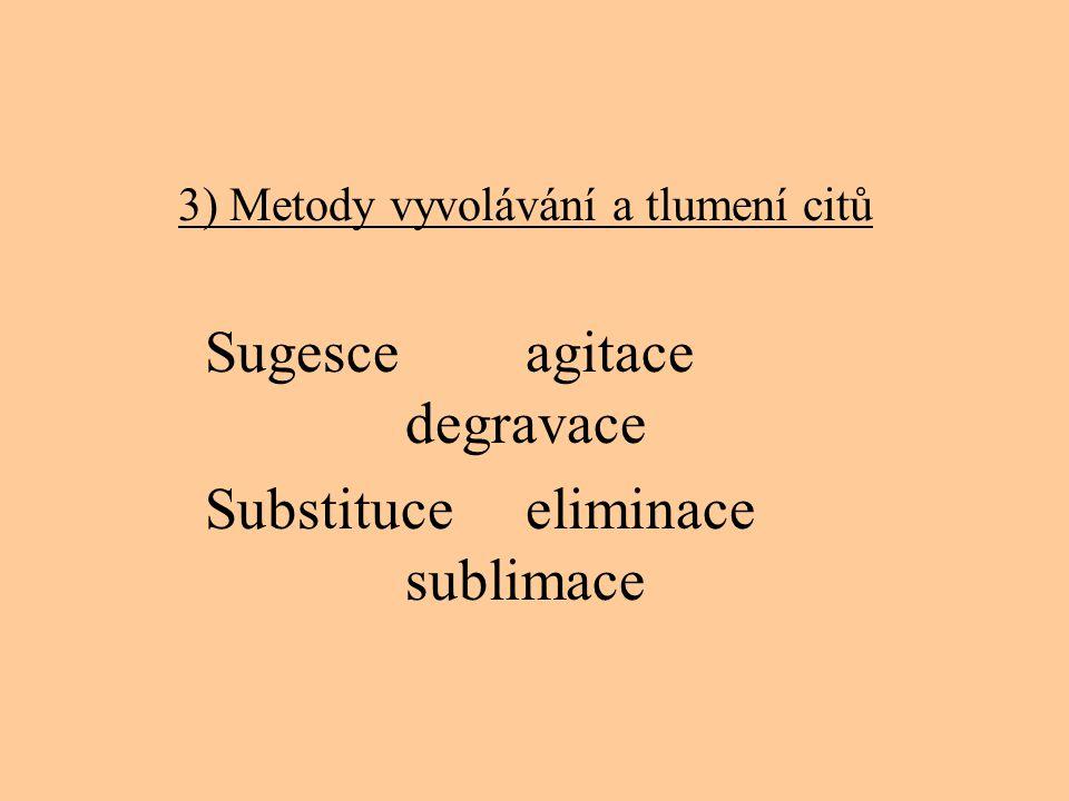3) Metody vyvolávání a tlumení citů Sugesce agitace degravace Substituce eliminace sublimace