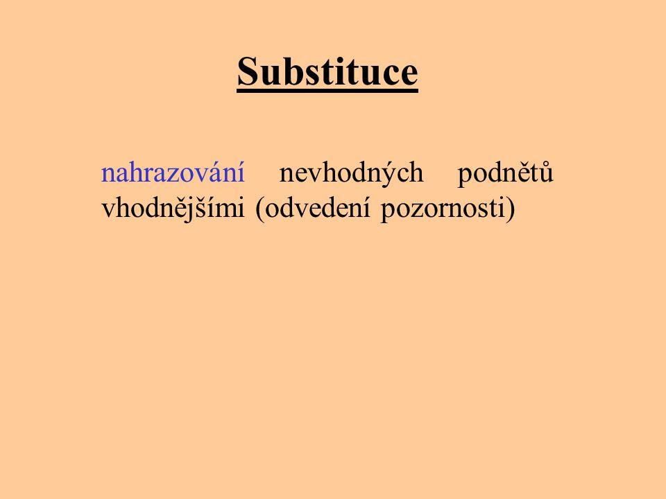 Substituce nahrazování nevhodných podnětů vhodnějšími (odvedení pozornosti)